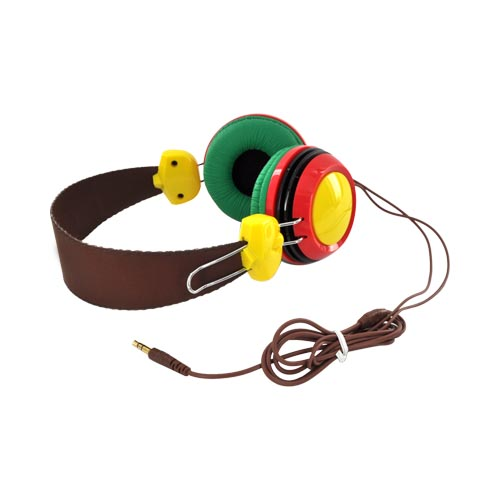 Original HYPE Universal Funky Headphones w/ Ear Cushions (3.5mm), HY-930-RED - Red/ Green/ Yellow/ Brown