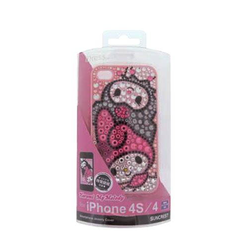 Licensed Sanrio Kuromi & My Melody Apple Iphone 4, Iphone 4s Idress Shiny Sparkling Gem Hard Case - Gray Kuromi, Pink My Melody On Pink/ Gray Gems