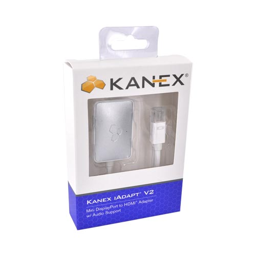 Kanex Silver/ White iAdapt HDMI V2 - Mini DisplayPort to HDMI Adapter with Audio Support - IADAPTV2