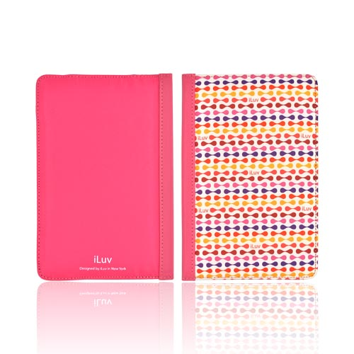 Original iLuv Festival Amazon Kindle Fire Hard Notebook Folio Case Cover, IAK503RED - Red/ Purple/ Orange iLuv Pattern on White