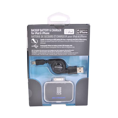 Original Scosche ReVolt Universal Apple iPod/iPhone Rechargeable Battery Pack & Charger, IBAT2 - Black