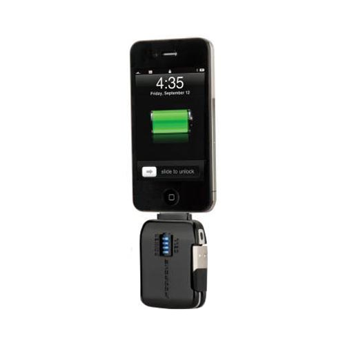 Original Scosche flipCHARGE Burst Apple iPhone/ iPod Emergency Backup Battery (720 mAh) & Charger, IBAT500 - Black