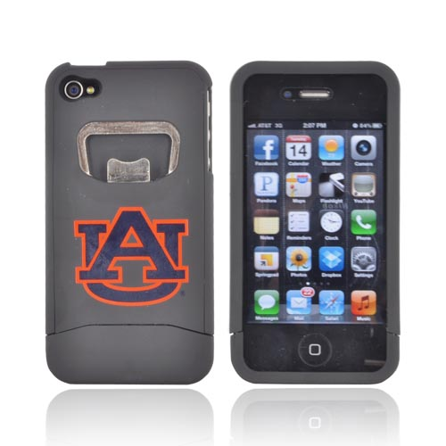 AT&T/ Verizon Apple iPhone 4, iPhone 4S Rubberized Bottle Opener Hard Case - Auburn Tigers on Black
