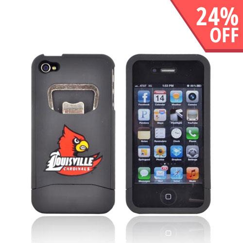 AT&T/ Verizon Apple iPhone 4, iPhone 4S Rubberized Bottle Opener Hard Case - Red Louisville Cardinals on Black