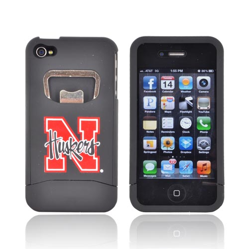 AT&T/ Verizon Apple iPhone 4, iPhone 4S Rubberized Bottle Opener Hard Case - Red Nebraska Cornhuskers on Black