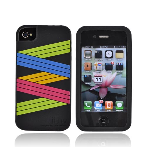 Original iLuv Apple Verizon/ AT&T iPhone 4, iPhone 4S Silicone Case, ICC722BLK - Colorful Zig Zag on Black