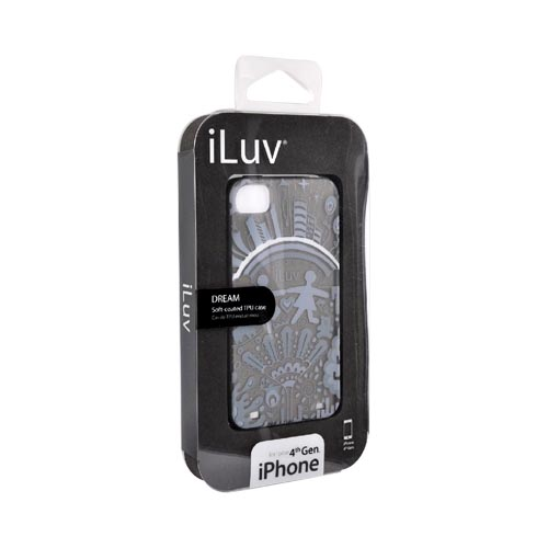 Original iLuv Apple iPhone 4 Soft-Coated TPU Silicone Case w/ Screen Protector, ICC725BLK - Gray Dream