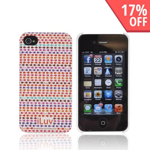 Original iLuv Festival AT&T/ Verizon Apple iPhone 4, iPhone 4S Hard Case Cover, ICC763RED - Red/ Purple/ Orange iLuv Pattern on White