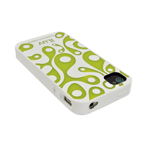 Original iLuv Aurora AT&T/ Verizon iPhone 4, iPhone 4S Glow-In-The-Dark Soft-Coated TPU Silicone Case, ICC765WHT - White/ Neon Yellow