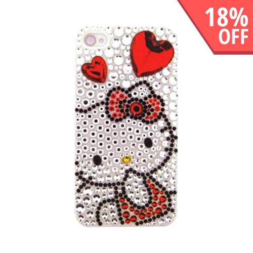 Officially Licensed Sanrio Hello Kitty AT&T/ Verizon Apple iPhone 4, iPhone 4S iDress Bling Hard Case, ID-27KT - Red Heart & Bow Hello Kitty on Silver Gems