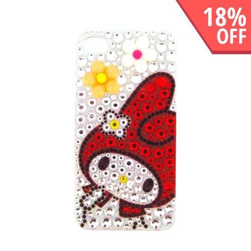 Officially Licensed Sanrio My Melody AT&T/ Verizon Apple iPhone 4, iPhone 4S iDress Bling Hard Case, ID-37MM - Orange/ White Flowers on Silver/ Red Gems