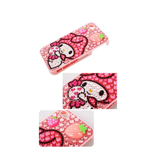 Officially Licensed Sanrio My Melody AT&T/ Verizon Apple iPhone 4, iPhone 4S iDress Bling Hard Case, ID-38MM - Pink/ Hot Pink Strawberries on Pink Gems