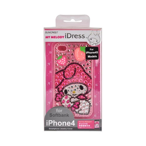 Licensed Sanrio My Melody At&t;/ Verizon Apple Iphone 4, Iphone 4s Idress Shiny Sparkling Gem Hard Case - Pink/ Hot Pink Strawberries On Pink Gems