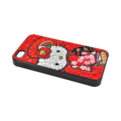 Officially Licensed Sanrio Hello Kitty AT&T/ Verizon Apple iPhone 4, iPhone 4S iDress Bling Hard Case, ID-89KT - Kimono Hello Kitty w/ Silver/ Red Gems