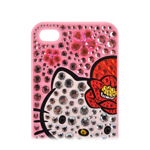 Officially Licensed Sanrio Hello Kitty AT&T/ Verizon Apple iPhone 4, iPhone 4S iDress Bling Hard Case, ID-90KT - Kimono & Flowers Hello Kitty w/ Silver/ Pink Gems