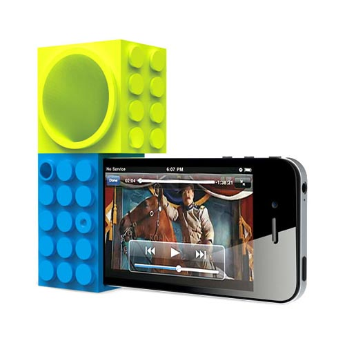 Original Ozaki iCarry Time2brick AT&T/ Verizon Apple iPhone 4, iPhone 4S Stand & Amplifier - Blue/ Lime Green Toy Bricks