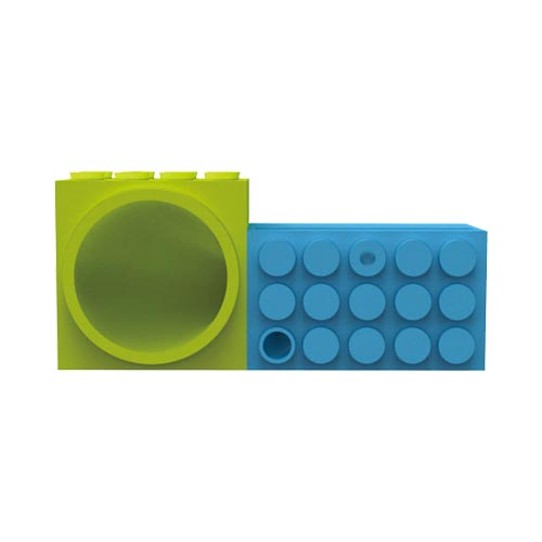 Ozaki iCarry Time2brick [Apple iPhone 4/4S/5/5S/5SE] Stand & Amplifier - Blue/ Lime Green Toy Bricks