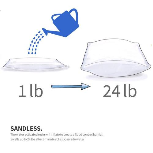 [Water 911] Self-Inflating Sandless Polymer Sandbag [Large] (58 x 34 x 3 cm) - 12 Pack!