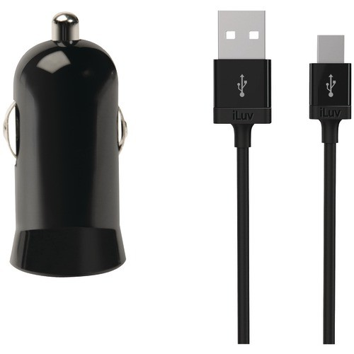 ILUV IAD225BLK MICRO USB CAR CHARGER WITH MINI USB CABLE