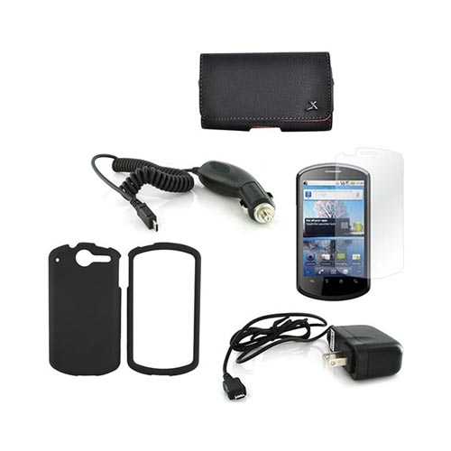 AT&T Impulse 4G Essential Bundle Package w/ Black Rubberized Hard Case, Screen Protector, Leather Pouch, Car & Travel Charger