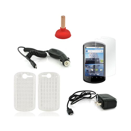 AT&T Impulse 4G Essential Bundle Package w/ Clear Crystal Silicone Case, Screen Protector, Red Plunger Stand, Car & Travel Charger