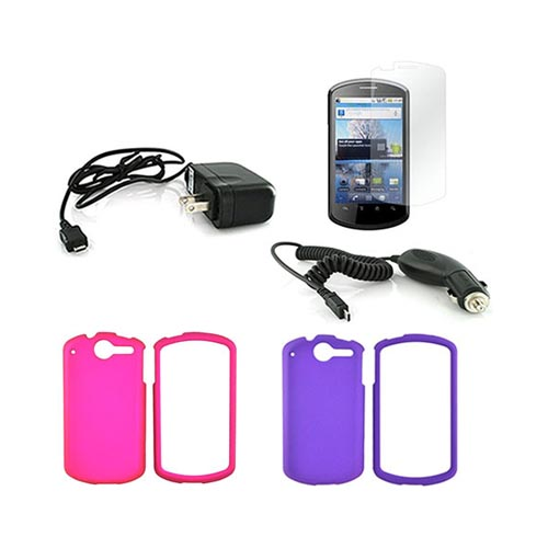 AT&T Impulse 4G Essential Bundle Package w/ Rose Pink & Purple Rubberized Hard Case, Screen Protector, Car & Travel Charger
