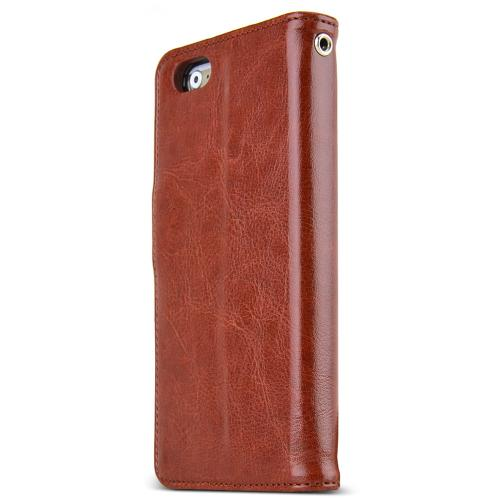 Apple iPhone 6/ 6S Case,  [Brown] Classic Series Kickstand Feature Luxury Faux Saffiano Leather Front Flip Cover with Built-in Card Slots, Magnetic Flap