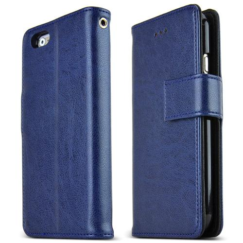 Apple iPhone 6/ 6S Case,  [Navy] Classic Series Kickstand Feature Luxury Faux Saffiano Leather Front Flip Cover with Built-in Card Slots, Magnetic Flap
