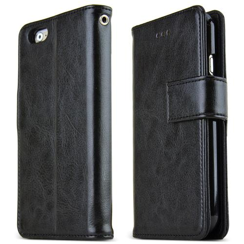 Apple iPhone 6 PLUS/6S PLUS (5.5 inch) Case Classic Series [Black] Slim & Protective Flip Cover Diary Case w/ ID Slots