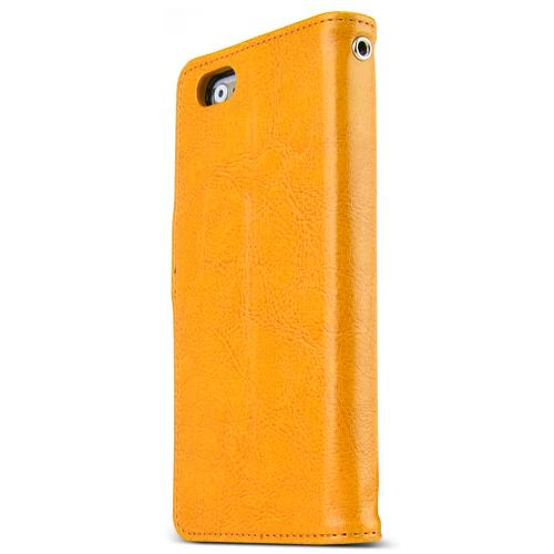 Apple iPhone 6 PLUS/6S PLUS (5.5 inch) Case Classic Series [Yellow] Slim & Protective Flip Cover Diary Case w/ ID Slots