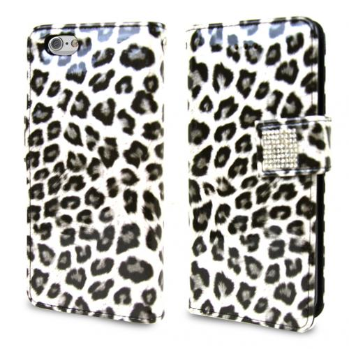 Apple iPhone 6/ 6S Case,  [Silver Leopard] Cubic Series Kickstand Feature Luxury Faux Saffiano Leather Front Flip Cover with Built-in Card Slots, Magnetic Flap