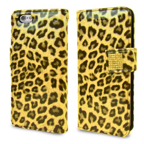 Apple iPhone 6/ 6S Case,  [Yellow Leopard] Cubic Series Kickstand Feature Luxury Faux Saffiano Leather Front Flip Cover with Built-in Card Slots, Magnetic Flap