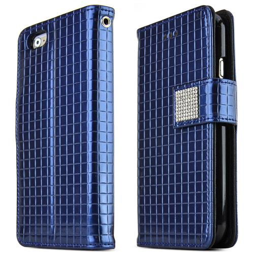 Apple iPhone 6/ 6S Case,  [Navy] Cubic Series Kickstand Feature Luxury Faux Saffiano Leather Front Flip Cover with Built-in Card Slots, Magnetic Flap