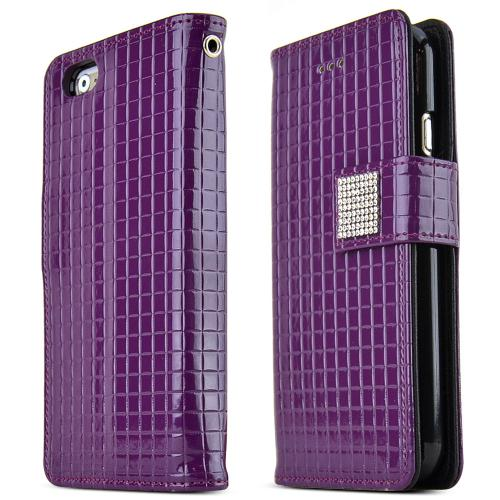 Apple iPhone 6/ 6S Case,  [Purple] Cubic Series Kickstand Feature Luxury Faux Saffiano Leather Front Flip Cover with Built-in Card Slots, Magnetic Flap