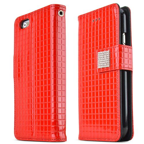 Apple iPhone 6/ 6S Case,  [Red] Cubic Series Kickstand Feature Luxury Faux Saffiano Leather Front Flip Cover with Built-in Card Slots, Magnetic Flap
