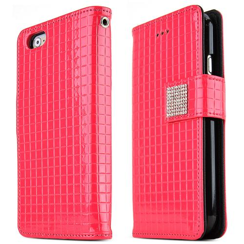 Apple iPhone 6 PLUS/6S PLUS (5.5 inch) Case Cubic Series [Hot Pink] Slim & Protective Flip Cover Diary Case w/ ID Slots