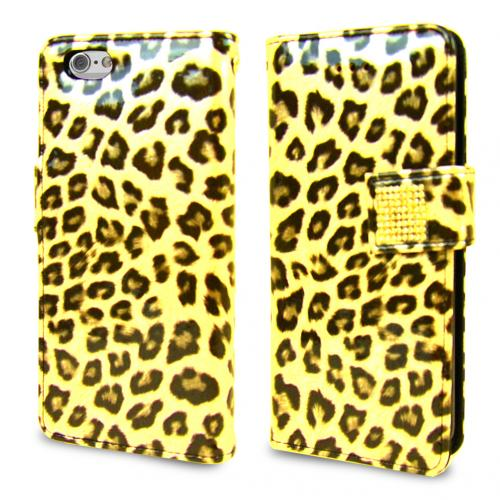 Apple iPhone 6 PLUS/6S PLUS (5.5 inch) Wallet Case Cubic Series [Yellow Leopard] Slim & Protective Flip Cover Diary Case w/ ID Slots For Apple iPhone 6/ 6S Plus