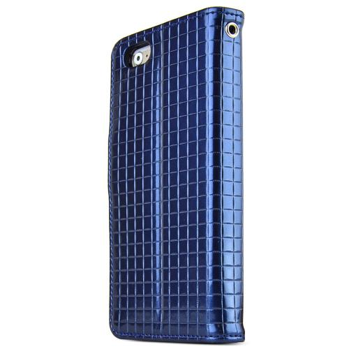 Apple iPhone 6 PLUS/6S PLUS (5.5 inch) Case Cubic Series [Navy] Slim & Protective Flip Cover Diary Case w/ ID Slots