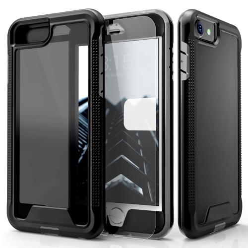 [Apple iPhone 7] (4.7 inch) Case, ION Single Layered Shockproof Protection TPU & PC Hybrid Cover w/ Tempered Glass [Black/ Smoke]