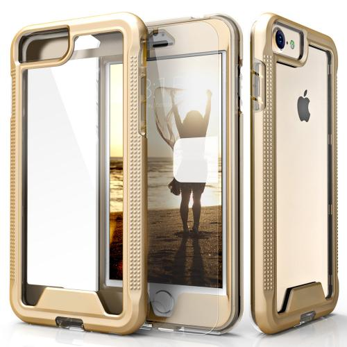 Apple iPhone 7 (4.7 inch) Case, ION Single Layered Shockproof Protection TPU & PC Hybrid Cover w/ Tempered Glass [Gold/ Clear]