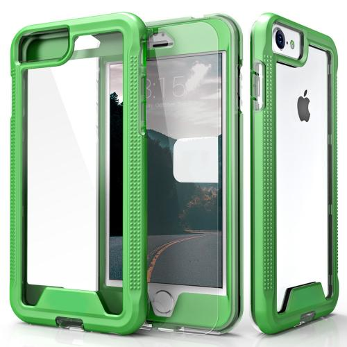 Apple iPhone 7 (4.7 inch) Case, ION Single Layered Shockproof Protection TPU & PC Hybrid Cover w/ Tempered Glass [Neon Green/ Clear]