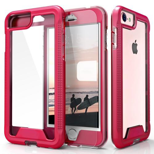 Apple iPhone 7 (4.7 inch) Case, ION Single Layered Shockproof Protection TPU & PC Hybrid Cover w/ Tempered Glass [Hot Pink/ Clear]
