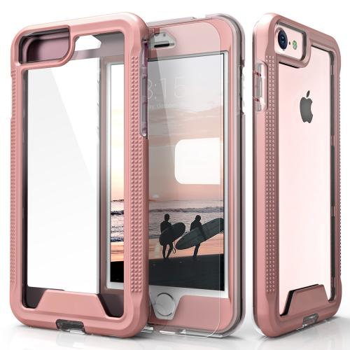 [Apple iPhone 7] (4.7 inch) Case, ION Single Layered Shockproof Protection TPU & PC Hybrid Cover w/ Tempered Glass [Rose Gold/ Clear]