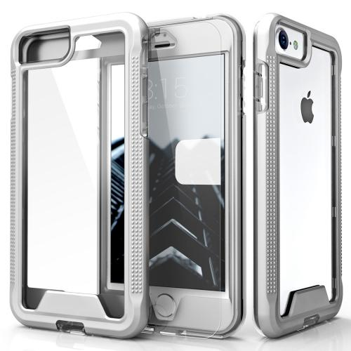 [Apple iPhone 7] (4.7 inch) Case, ION Single Layered Shockproof Protection TPU & PC Hybrid Cover w/ Tempered Glass [Silver/ Clear]