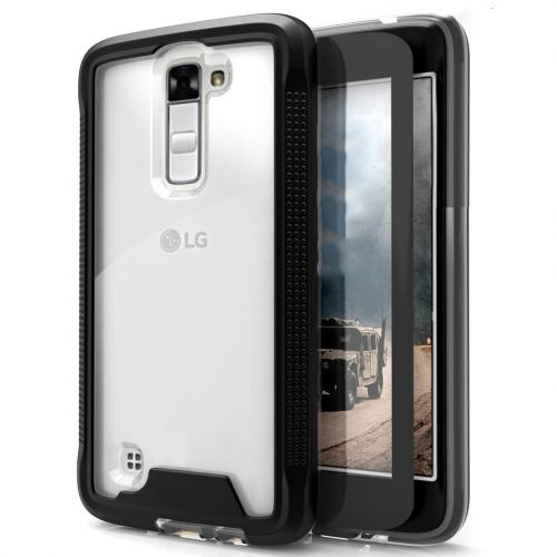 LG K10 Case, ION Single Layered Shockproof Protection TPU & PC Hybrid Cover w/ Tempered Glass [Black/ Clear]
