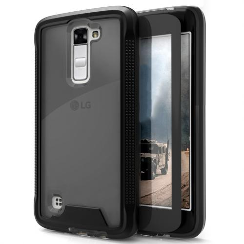 [LG K10] Case, ION Single Layered Shockproof Protection TPU & PC Hybrid Cover w/ Tempered Glass [Black/ Smoke]