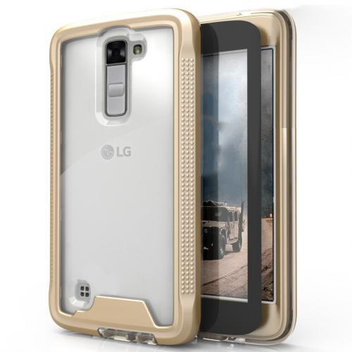 LG K10 Case, ION Single Layered Shockproof Protection TPU & PC Hybrid Cover w/ Tempered Glass [Gold/ Clear]