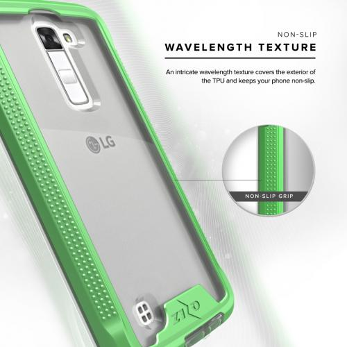 [LG K10] Case, ION Single Layered Shockproof Protection TPU & PC Hybrid Cover w/ Tempered Glass [Neon Green/ Clear]