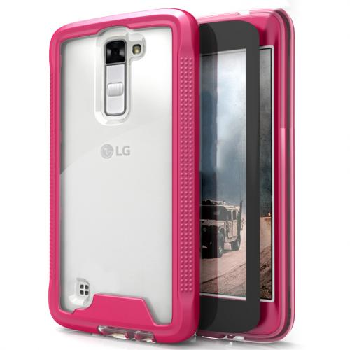 LG K10 Case, ION Single Layered Shockproof Protection TPU & PC Hybrid Cover w/ Tempered Glass [Hot Pink/ Clear]