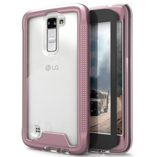 [LG K10] Case, ION Single Layered Shockproof Protection TPU & PC Hybrid Cover w/ Tempered Glass [Rose Gold/ Clear]